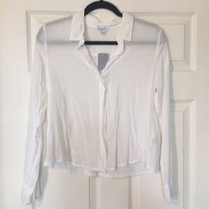 Splendid cropped white button down shirt